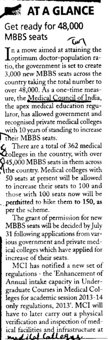 Get ready for 48000 MBBS seats (Medical Council of India (MCI))