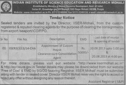 Cleaning of consignments (Indian Institute of Science Education and Research (IISER))