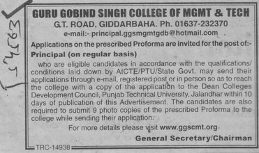 Principal on regular basis (Guru Gobind Singh College of Management and Technology)