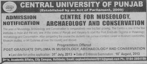 PG Diploma in Museology (Central University of Punjab)