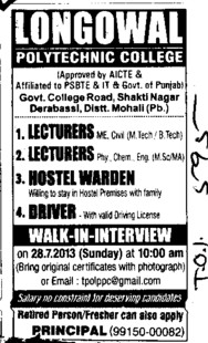 Lecturer and Hostel Warden (Longowal College of Pharmacy and Polytechnic)