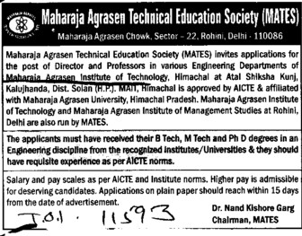 Director and Professor (Maharaja Agrasen Institute of Technology)