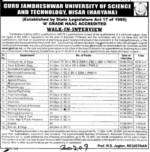 Asstt Professor for Maths (Guru Jambheshwar University of Science and Technology (GJUST))