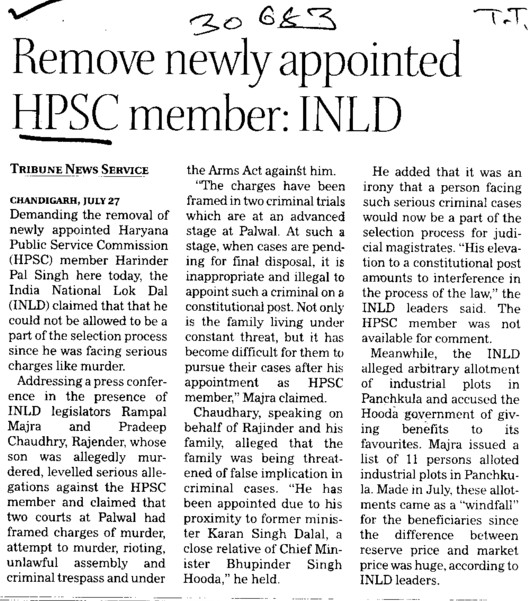 Remove newly appointed HPSC member, INLD (Haryana Public Service Commission (HPSC))