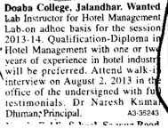 Lab Instructor (Doaba College)