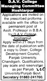 Asstt Professor in BBA (DAV College)