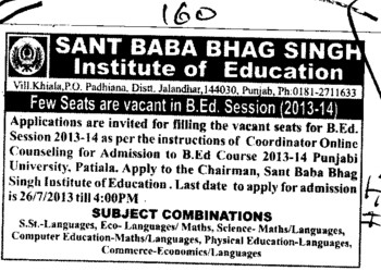 B Ed course (Sant Baba Bhag Singh Institute of Education)