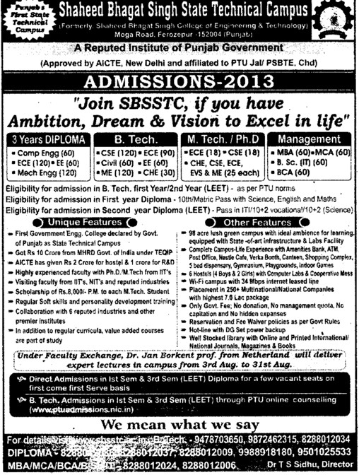 Btech, Mtech and PhD (Shaheed Bhagat Singh State (SBBS) Technical Campus)