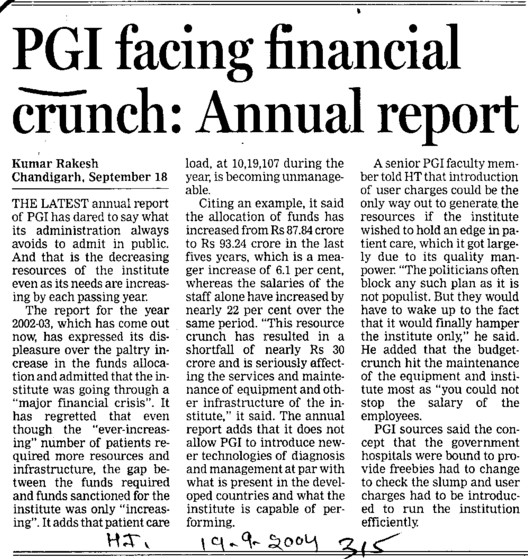 PGI facing financial crunch, Annual report (Post-Graduate Institute of Medical Education and Research (PGIMER))