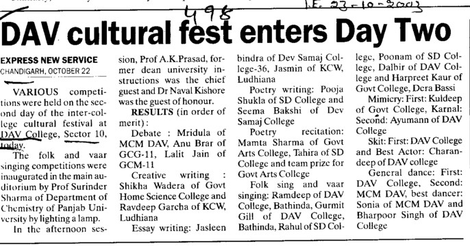 DAV cultural fest enters day two (DAV College Sector 10)