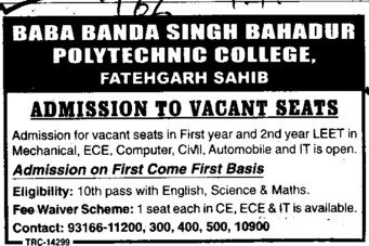 BTech in ECE and ME (Baba Banda Singh Bahadur Polytechnic College)
