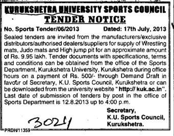 Supply of wrestling mats (Kurukshetra University)