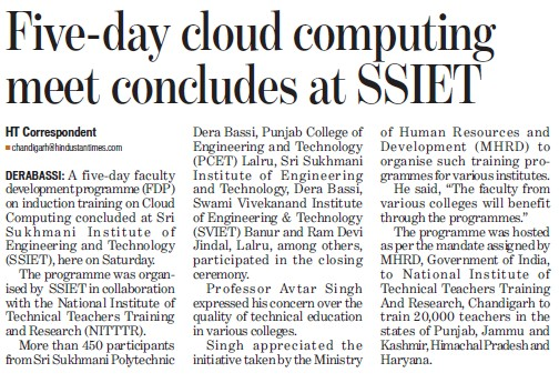 5 day cloud computing meet concludes at SSIET (Sri Sukhmani Institute of Engineering and Technology)