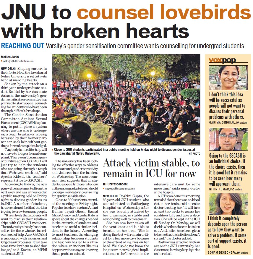 JNU counsel lovebirds with broken hearts (Jawaharlal Nehru University)