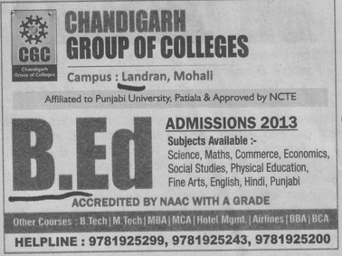 B Ed course (Chandigarh Group of Colleges)