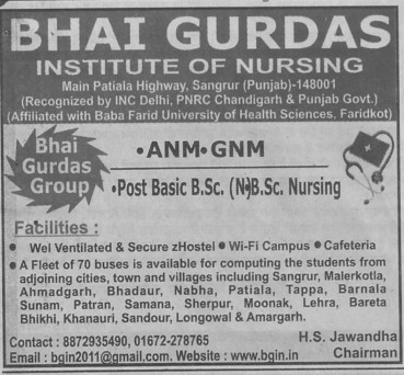 GNM and BSc Nursing (Bhai Gurdas Institute of Nursing)