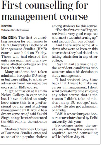 1st counselling for mgmt courses (Delhi University)