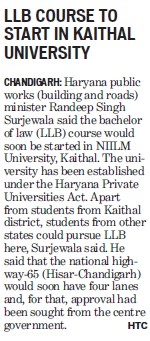 LLB course to start in Kaithal Univ (NIILM University)