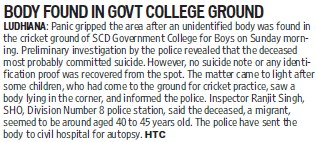 Body found in Govt College ground (SCD Govt College)