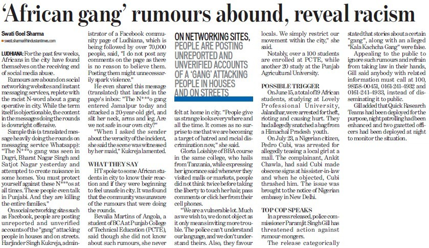 African gang rumours abound, reveal racism (Punjab College of Technical Education)