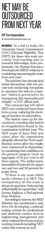 NET may be outsourced from next year (University Grants Commission (UGC))