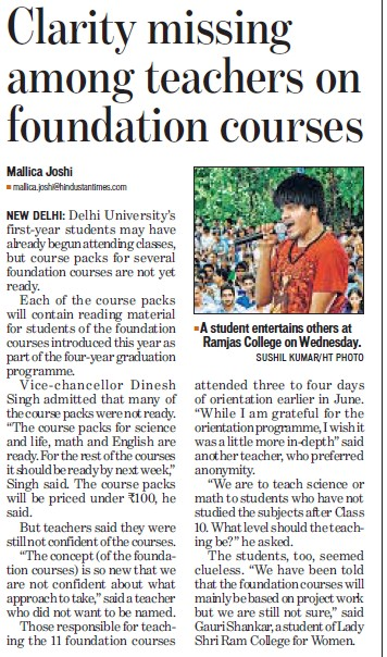Clarity missing among teachers on foundation courses (Delhi University)