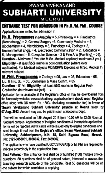 PhD and m Phil courses (Swami Vivekanand Subharti University)