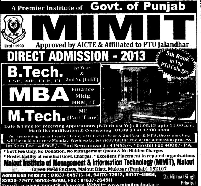 Btech and MBA (Malout Institute of Management and Information Technology MIMIT)