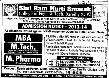 MBA and MTech (SRMS College of Engineering & Technology)