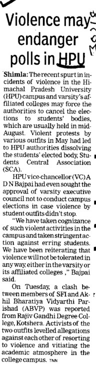 Violence may endanger polls in HPU (Himachal Pradesh University)