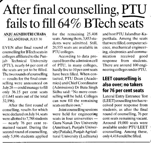 After final counselling, PTU fails to fill 64 percent BTech seats (IK Gujral Punjab Technical University PTU)