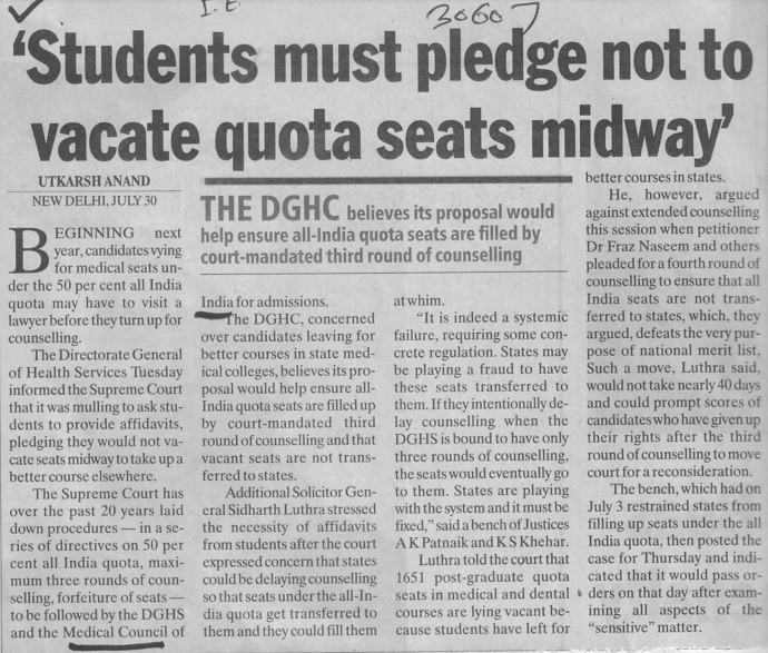 Students must pledge not to vacate quota seats midway (Medical Council of India (MCI))
