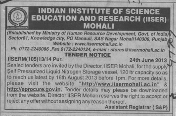Supply of self pressurized liquid nitrogen (Indian Institute of Science Education and Research (IISER))