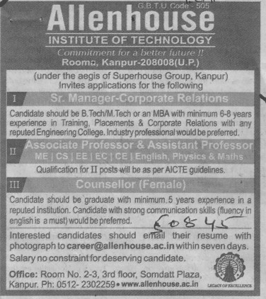 Sr Manager and Counsellor (Allenhouse Institute of Technology)