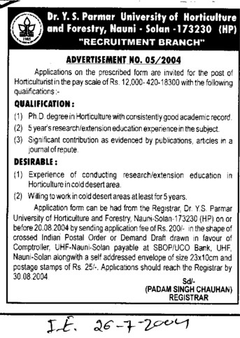 Horticulturist (Dr Yashwant Singh Parmar University of Horticulture and Forestry)