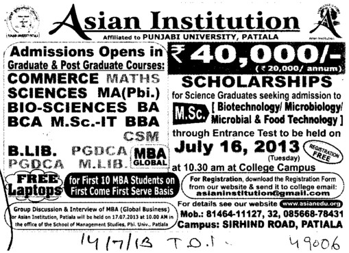 B Lib and MBA (Asian Institution)