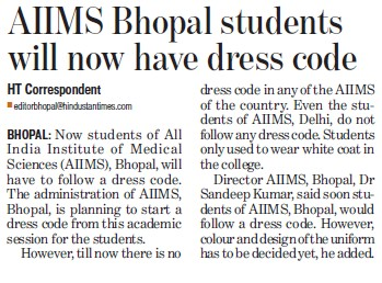 AIIMS Bhopal students will now have dress code (All India Institute of Medical Sciences (AIIMS))