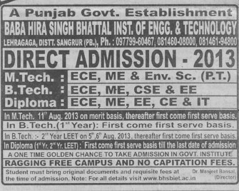 BTech and MTech (Baba Hira Singh Bhattal Institute of Engineering and Technology (BHSBIET))