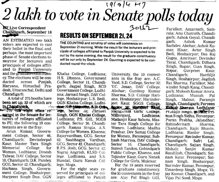 2 lacs to vote in senate polls today (Panjab University)