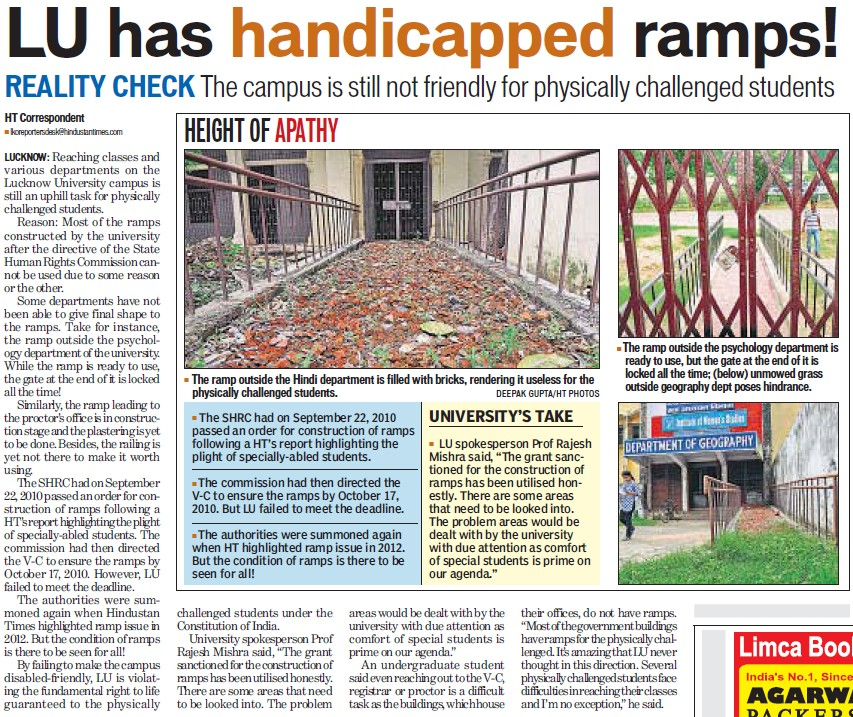 LU has handicapped ramps (Lucknow University)