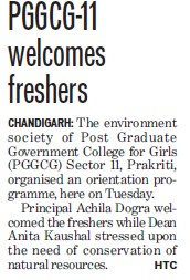 Principal Achila Dogra welcomed the freshers (Post Graduate Government College (Sector 11))
