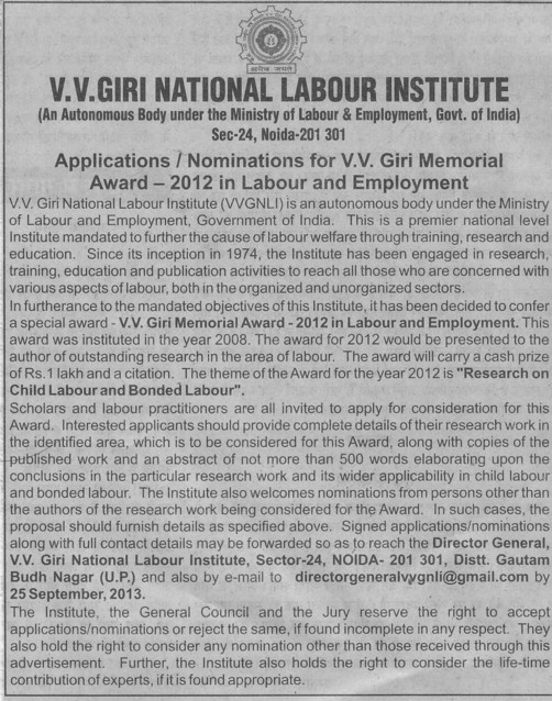 Nomination for VV Giri Memorial Award 2012 (VV Giri National Labour Institute (VVGNLI))