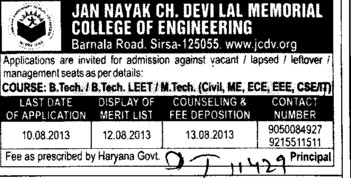 BTech and MTech course (JCD College of Engineering)