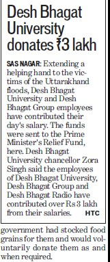 DBU donates Rs3 lacs for Uttarakhand floods (Desh Bhagat University)
