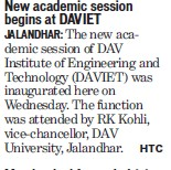 New academic session begins at DAVIET (DAV Institute of Engineering and Technology DAVIET)