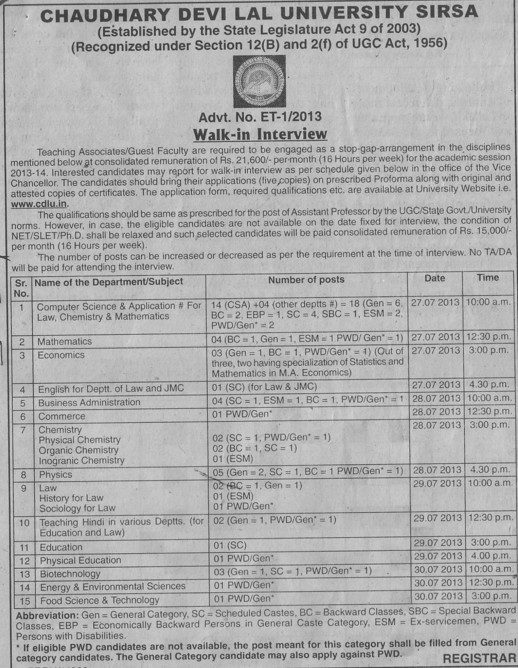 Asstt Professor for Law and Physics (Chaudhary Devi Lal University CDLU)