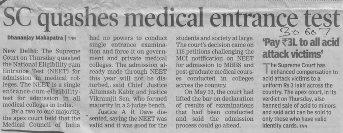 SC quashes medical entrance test (Medical Council of India (MCI))
