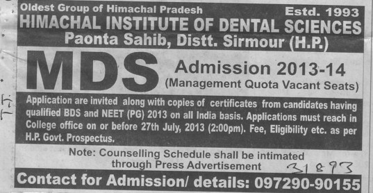 MDS Course (Himachal Institute of Dental Sciences HIDS)