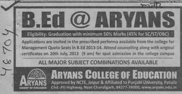 B Ed course (Aryans College of Education)