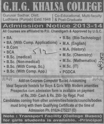 BA, BCom and BSc (GHG Khalsa College)